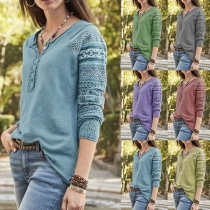 Fashion Lace Spliced Long Sleeve V-neck Solid Color T-shirt