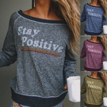 Fashion Letters Printed Long Sleeve Contrast Color T-shirt