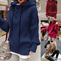 Fashion Solid Color Long Sleeve Hooded Loose Knit Top