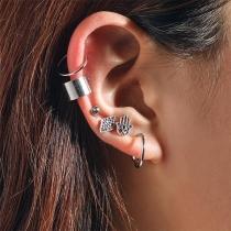Retro Style Silver-tone Alloy Stud Earring Set 6 pcs/Set