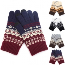 Fashion Printed Knit Gloves