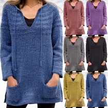 Fashion Solid Color Long Sleeve V-neck Front-pocket Loose Sweater