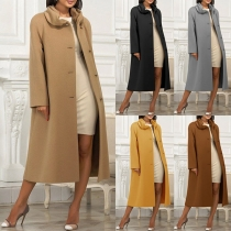 Elegant Solid Color Long Sleeve Single-breasted Woolen Coat