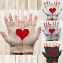 Fashion Heart Pattern Half Finger Knit Gloves