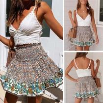Fashion High Waist Ruffle Hem Printed Skirt