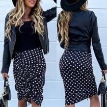 Fashion High Waist Side-drawstring Dots Printed Skirt