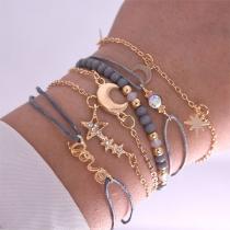 Fashion Rhinestone Inlaid Star Crescent Pendant Beaded Bracelet Set 6 pcs/Set