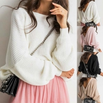 Sexy V-shaped Backless Long Sleeve Solid Color Loose Sweater