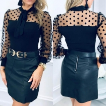 Sexy Dots Gauze Spliced Long Sleeve Bow-knot Collar Top