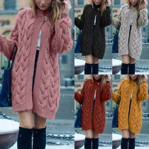 Fashion Solid Color Long Sleeve Loose Thin Knit Cardigan