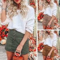 Fashion Solid Color High Waist Front-pokcet Skirt