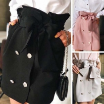 Fashion Solid Color High Waist Skirt with Bow-knot Waist Strap