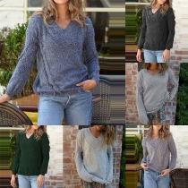 Fashion Solid Color Long Sleeve V-neck Tassel Sweater