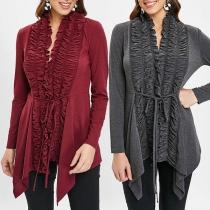 Fashion Solid Color Long Sleeve Irregular Hem Ruffle Cardigan