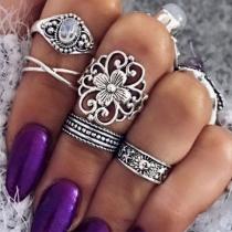Retro Style Imitation Gem Inlaid Ring Set 5 pcs/Set