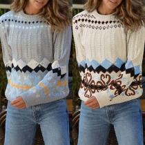 Fashion Long Sleeve Round Neck Printed Sweater