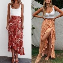 Sexy Slit Hem High Waist Printed Maxi Skirt
