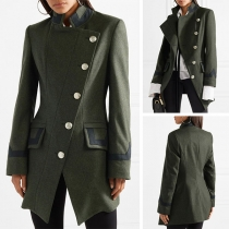 Fashion Long Sleeve Stand Collar Oblique Button Coat