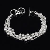 Fashion Silver-tone Beaded Bracelet