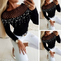 Sexy Hollow out Gauze Spliced Long Sleeve Beaded T-shirt