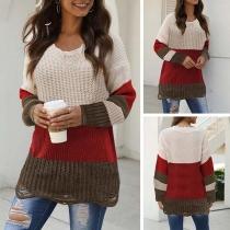 Fashion Contrast Color Long Sleeve V-neck Ripped Hem Sweater