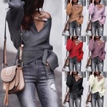 Sexy V-neck Irregular Hem Long Sleeve Solid Color Lace-up Sweater