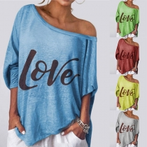 Fashion Letters Printed Dolman Sleeve Boat Neck Loose T-shirt
