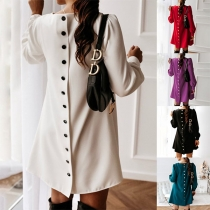 Fashion Solid Color Long Sleeve Round Neck Back-button Dress