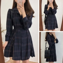 Retro Style Long Sleeve POLO Collar Plaid Shirt Dress