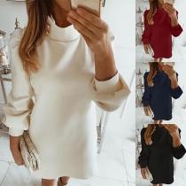 Fashion Solid Color Long Sleeve Mock Neck Dress