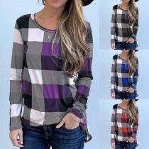 Fashion Long Sleeve Round Neck Plaid T-shirt