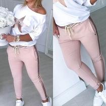 Fashion Star Printed Long Sleeve Sweatshirt + Pants Two-piece Set
