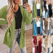 Fashion Solid Color Long Sleeve Front-pocket Knit Cardigan