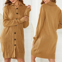 Fashion Solid Color Long Sleeve POLO Collar Single-breasted Knit Cardigan