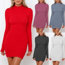 Sexy Backless Long Sleeve Mock Neck Solid Color Tight Dress
