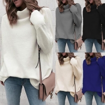 Fashion Solid Color Long Sleeve Mock Neck Loose Top