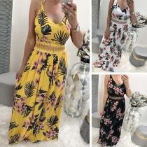 Sexy Backless V-neck High Waist Sling Printed Maxi Dress