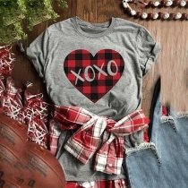Fashion Plaid Heart Printed Short Sleeve Round Neck T-shirt