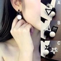 Fashion Contrast Color Geometric Shaped Asymmetric Stud Earrings