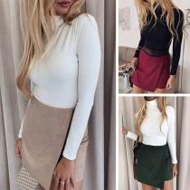 Fashion Solid Color High Waist Irregular Hem Skirt