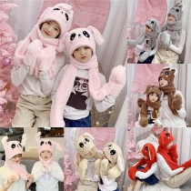 Cute Cartoon Rabbit Ear Shaped Hat + Scarf Two-piece Set