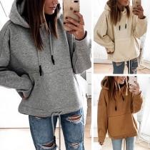 Fashion Solid Color Long Sleeve Hooded Loose Sweatshirt