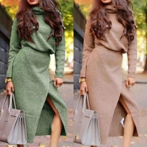 Fashion Solid Color Turtleneck Knit Top + Slit Skirt Length Skirt Two-piece Set