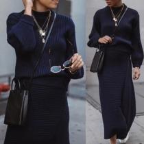 Fashion Solid Color Round Neck Knit Top + Irregular Slit Hem Skirt Two-piece Set
