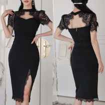 Sexy Hollow Out Lace Spliced Short Sleeve Top + Slit Hem Skirt Two-piece Set