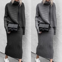 Fashion Solid Color Long Sleeve Turtleneck Knit Top + Skirt Two-piece Set