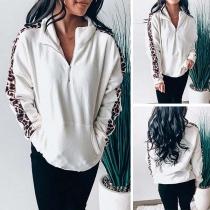 Fashion Leopard Spliced Long Sleeve Stand Collar Sweatshirt