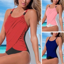 Sexy Backless Contrast Color Sling One-piece Swimsuit