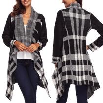 Fashion Long Sleeve Irregular Hem Plaid Knit Cardigan