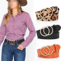 Fashion Round Circle Button PU Leather Waistband